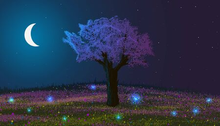 Spring. Night landscape. Blooming tree on a hill with flowers and glowworms. Moon among stars. Stock Photo