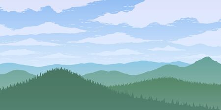 Vector illustration of green mountains valley in fog.
