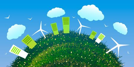 World Environment Day. Abstract ecological city with wind farms on green grass.