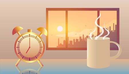 Alarm clock and mug of hot coffee near window at morning sunrise in big city.