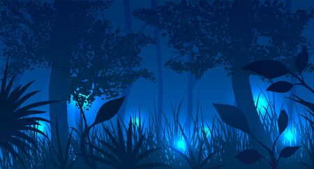 Forest with glowing fireflies at night. Vector illustration.