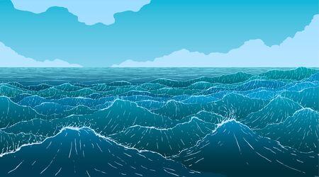 Vector illustration of large blue ocean waves