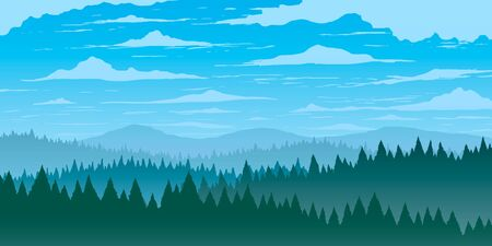 Vector background. Fir forest in hilly mountains with meadows. Ilustração