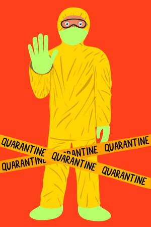 Vector illustration of cartantine and stopping the spread of coronavirus. A man in a yellow protective suit warns of danger and prohibits passage on a red background.