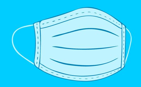 Vector abstract illustration of a medical protective mask of the respiratory tract on a blue background