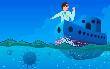 Vector abstract illustration of coronavirus detection and warning by doctors. A ship with a doctor on the nose defining underwater mines in the form of coronavirus.