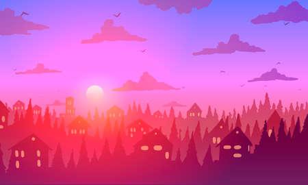Vintage town at sunset. Bright orange sun at horizon