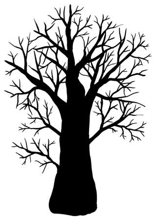 Vector illustration. Silhouette of tree on white background.