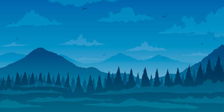 Vector background. Fir forest in hilly mountains