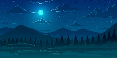 Vector background. Fir forest in hilly mountains at night.