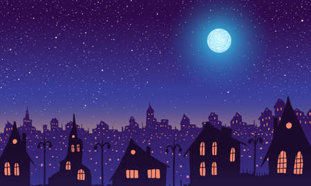 Vintage town at night. Bright moon and shooting star.