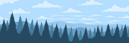 Vector background. Panorama of hilly mountains with fir forest in fog Vectores