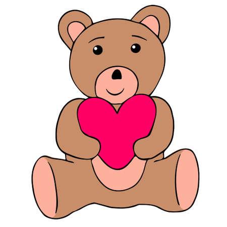 Vector illustration of Valentines Day. Cartoon teddy bear with heart.