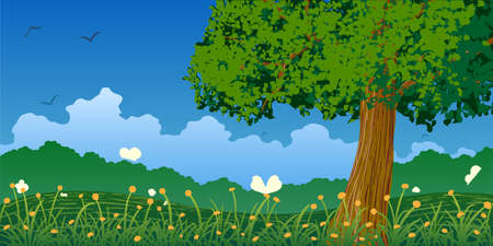 Vector illustration. Green tree on colorful flowering meadows in spring.