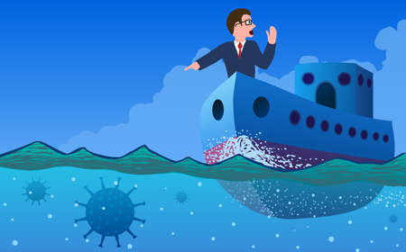 Vector abstract illustration of business management in context of virus. A ship with businessman on the nose defining underwater mines in the form of virus.