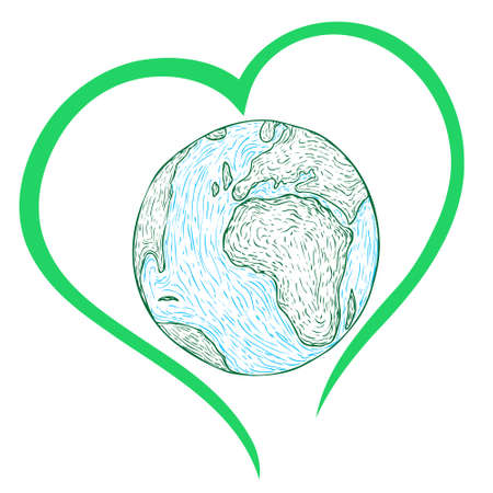 hand-drawn earth strokes with green heart around