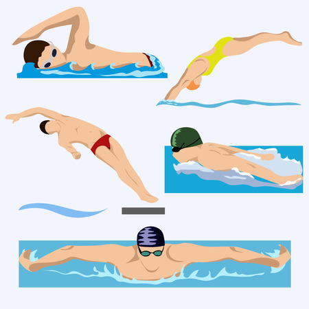 Nadadores en competición, natación, deporte, vector. Verano, agua, mar. EPS
