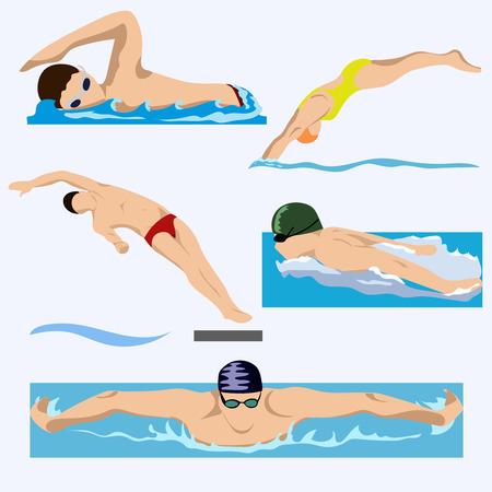 Schwimmer im Wettbewerb, Schwimmen, Sport, Vektor. Sommer, Wasser, Meer. EPS