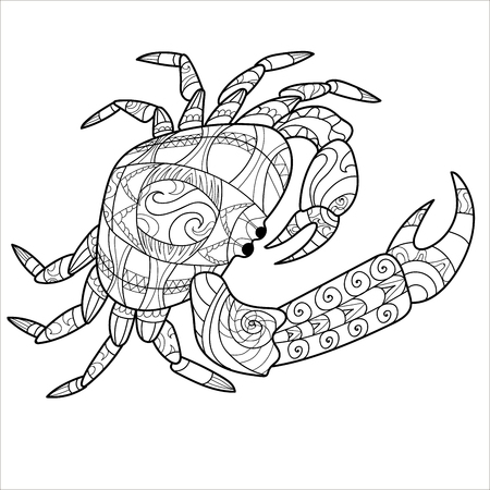 crab pattern, coloring book, page, animal, pattern. Vector illustration 向量圖像