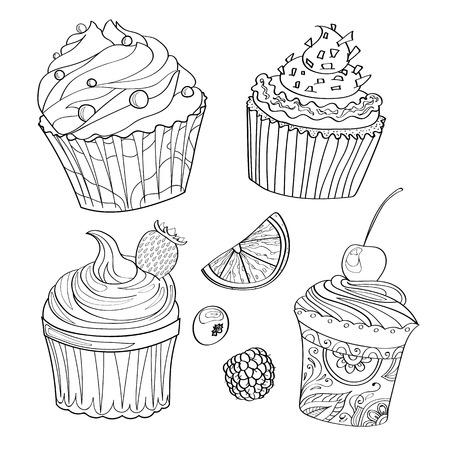 Libro de colorear, página para colorear, pastel, dulce, panadería, patrón, conjunto, café