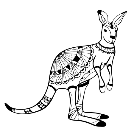 Libro de colorear, página para colorear, animal, canguro, patrón, vector Ilustración de vector