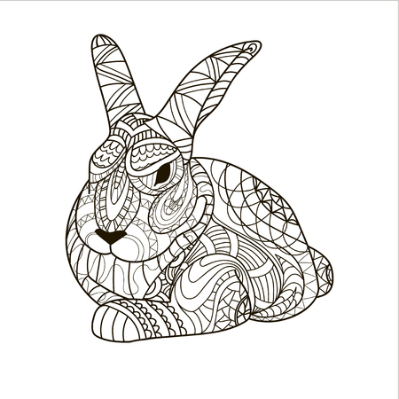 Coloring, coloring page, bunny, rabbit, rodent, pattern, vector
