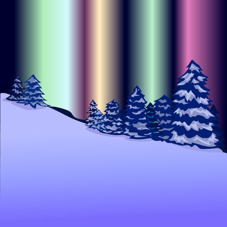 Winter landscape. Forest, aurora polaris, nature, snow, vector Illustration