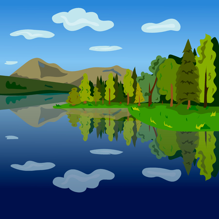 Landscape. The lake, forest and mountains. Vector illustration