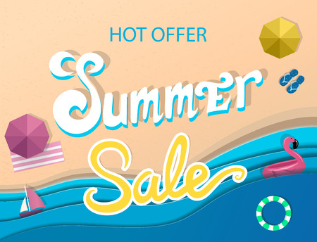 Summer sale banner, signboard, decor for the store. Top view of beach and sea, background, vector. Girl in swimsuit Çizim
