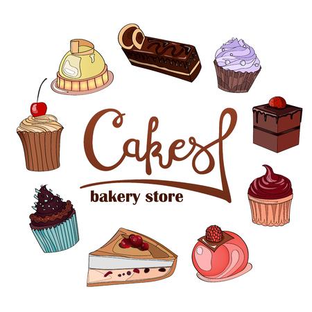 Logo, signe, style pour la confiserie, boulangerie. Caractères,
