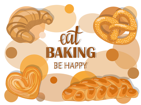Decor for a shop or cafe with pastries, bread, baking. Bakery store, bread house, handwritten illustration with lettering. Signboard, vector Ilustracja