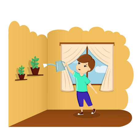 A child watering a flower at home, a child helps, a good baby, a child in the room. Illustration, vector Ilustrace