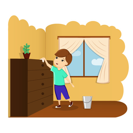 The child removes the house, the child helps, a good baby, the child in the room. Illustration, vector