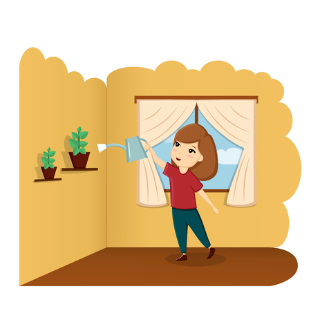 A child watering a flower at home, a child helps, a good baby, a child in the room. Illustration, vector Reklamní fotografie