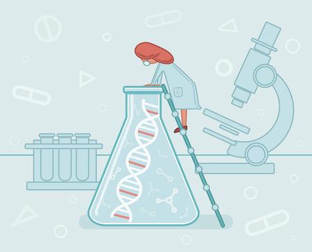 Genome sequencing, DNA, DNA research, scientist in the laboratory, medicine, illustration, vector.