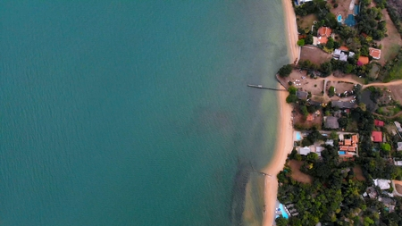 Top view of the beautiful seascape in Pattaya, Thailand, aerial view of the coastline and Pattaya Sea