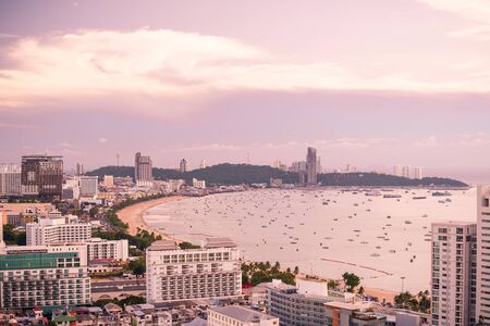 Pattaya, Thailand - April 30, 2019: Panoramic view of Pattaya city, Thailand, sunset