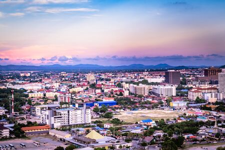 Pattaya, Thailand - April 30, 2019: Pattaya City and Sea with suset, Thailand. Pattaya city skyline and pier at suset in Pattaya Chonburi Thailand Redactioneel