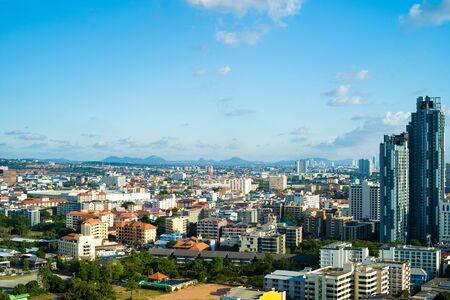 Pattaya, Thailand - April 30, 2019: Panoramic view of Pattaya city, Thailand.