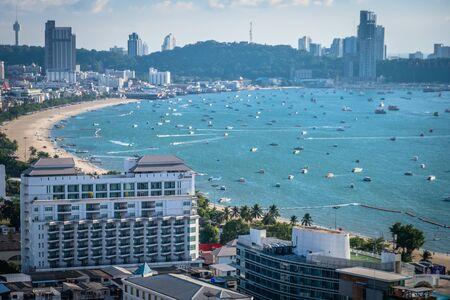 Pattaya, Thailand - April 30, 2019: Panoramic view of Pattaya city, Thailand