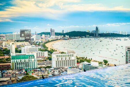 Pattaya, Thailand - April 30, 2019: Amazing sunrise at infinity pool, Pattaya, Thailand.