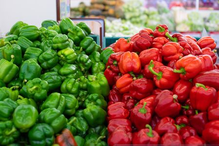Red and Green Peppers. Displayed on a market stall Stock fotó