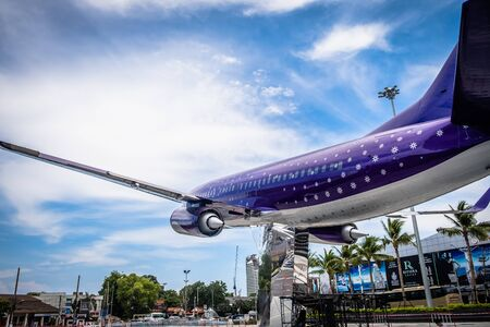 Pattaya, Thailand - May 22, 2019: The Terminal 21, shopping area of Pattaya The front yard has a large plane model. And this is also a large and modern shopping center of Pattaya.
