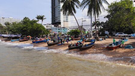 Pattaya, Thailand - April 18, 2019: Beach and sea in Pattaya Chonburi, Thailand, top view. Beautiful scenery of Pattaya Chonburi Beach, Thailand