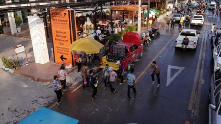 Pattaya, Thailand - April 19, 2019: Foreigner tourist joy and fun with Songran Day, water festival