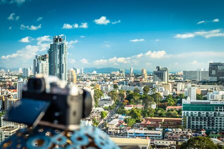 Pattaya, Thailand - April 30, 2019: Digital camera with a beautiful panoramic view of the city of Pattaya
