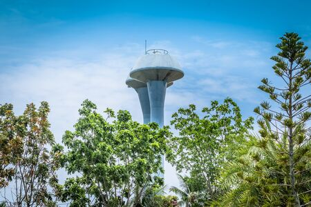 Water tower. Water towers, generally impounding water in residential areas, are also an important part of the water plants production process.