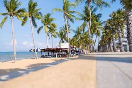 Pattaya, Thailand - May 27, 2019: This is a view of Jomtien beach a popular tourist beach in Pattaya