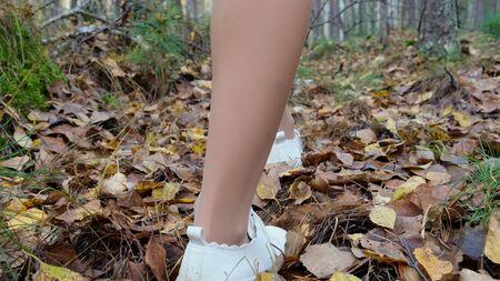 female legs walk through the autumn forest.