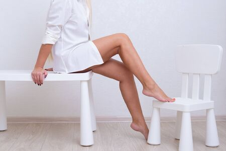 Beautiful female legs. The concept of skin care, hair removal, depilation